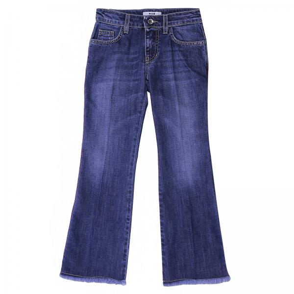 Jeans Msgm Kids in denim stretch used con bande a righe