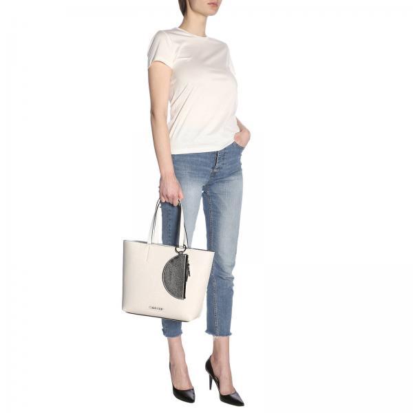 Borsa Calvin Mini BiancoCon Klein Laminata K60k605223 Donna Pochette Amovibile O8wX0PNnkZ