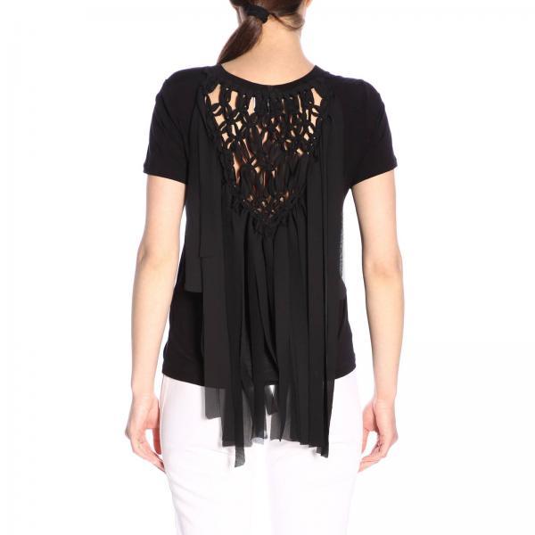Primavera Js0215 V53giglio Camiseta S776 Negro verano Dondup 2019 Mujer IAwUYf