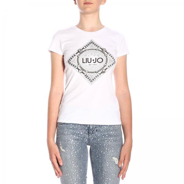 best cheap ead83 c4fac T-shirt liu jo a girocollo con stampa
