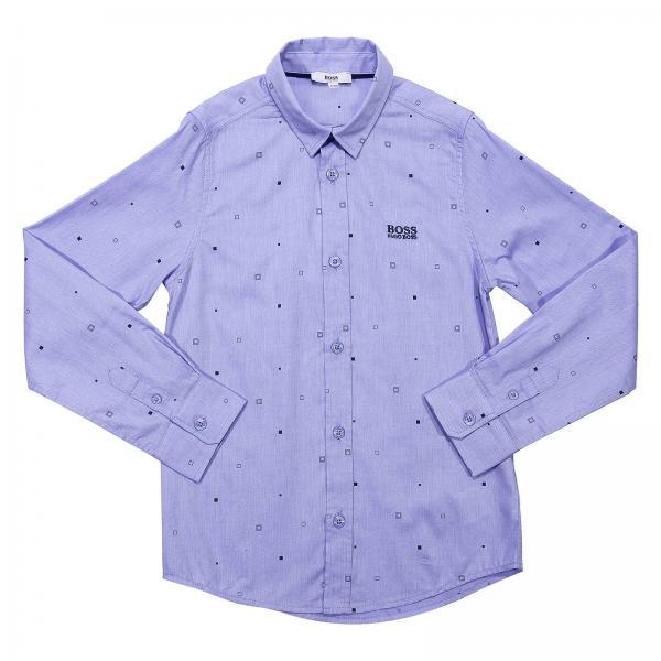 2a5968b90 Hugo Boss Little Boy's Gnawed Blue Shirt | Shirt Kids Hugo Boss ...