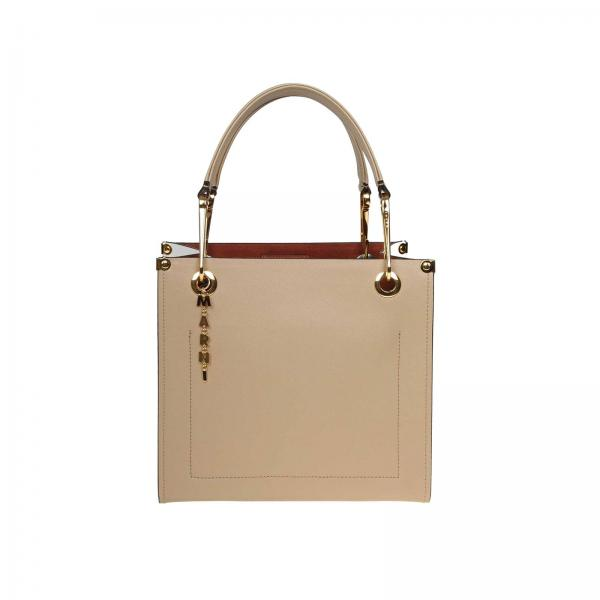 Marni tote bag in bicolor leather with double handles