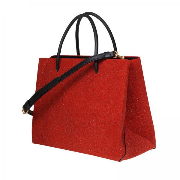 Con Shopper Glitter E Pelle Donna Tote Moschino 7464 RossoBorsa 8008 Couture Borse Maxi In Logo Tessuto CWdErxoeQB