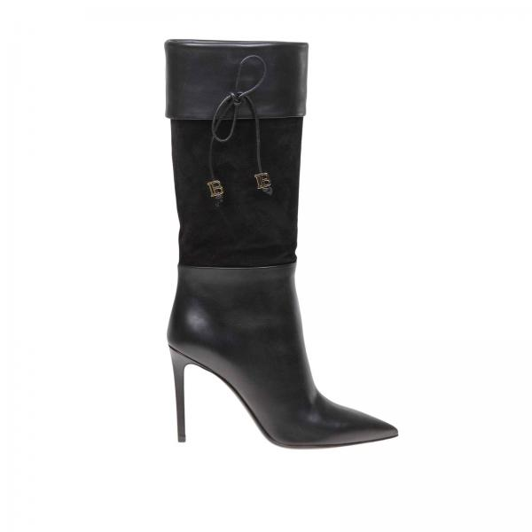 Mina Balmain smooth leather and suede boots with bow