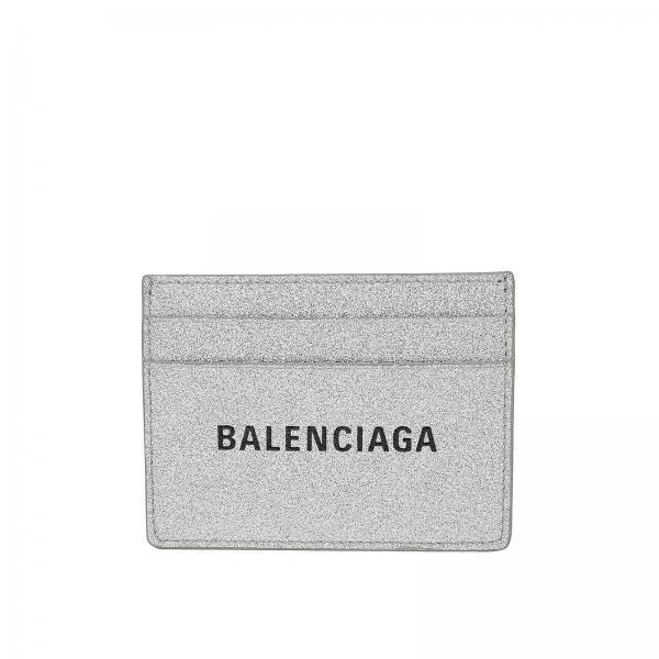Balenciaga card holder in glitter fabric with logo