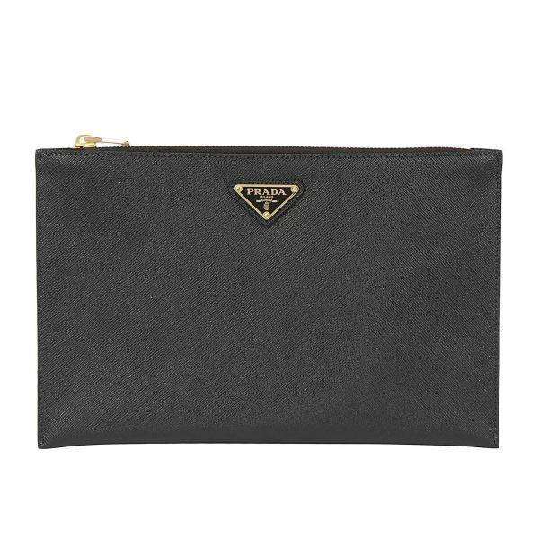 Prada Clutch Bag In Leather With Triangular Logo