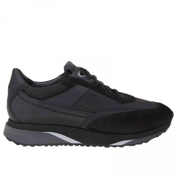 Sneakers Santoni in pelle nylon e camoscio con suola in gomma