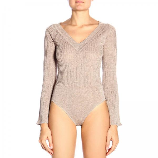 Bodysuit with V-neck and ribbed fabric by Pinko
