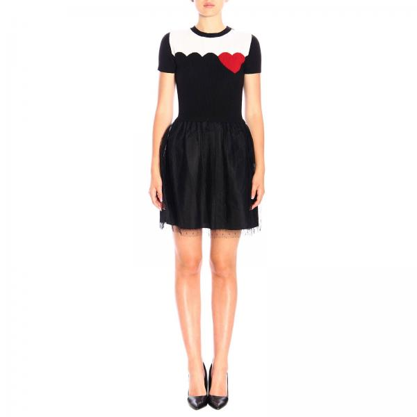 Abito Red Valentino corto a girocollo con maxi cuore e gonna in tulle point d'esprit