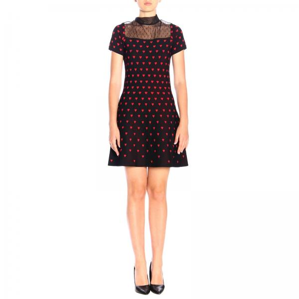 Abito Red Valentino corto con dettagli in tulle point d'esprit e cuori all over