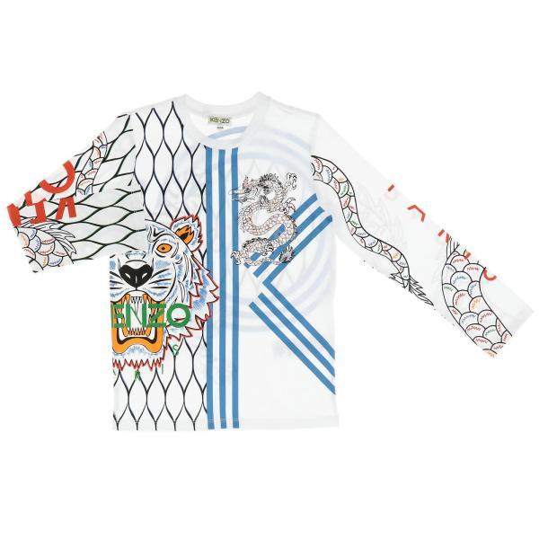 Maglia Kenzo Junior a maniche lunghe con maxi logo Tiger Kenzo Paris all over