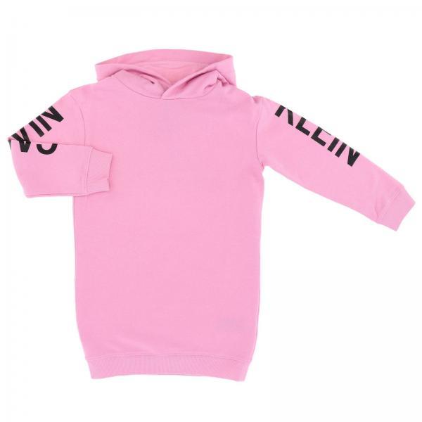 Abito a felpa Calvin Klein con cappuccio e maxi stampa logo