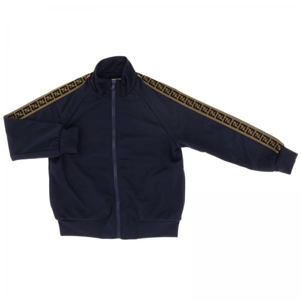 Fendi sweatshirt with zip and logoed maxi bands