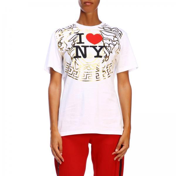 T-shirt Versace a maniche corte con maxi stampa I love New York