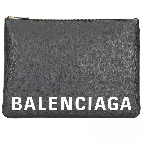 Balenciaga clutch bag in leather with logo print