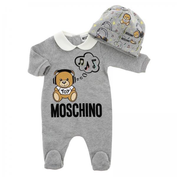 Set Moschino Baby Tutina con piede + cappellino con stampa Teddy