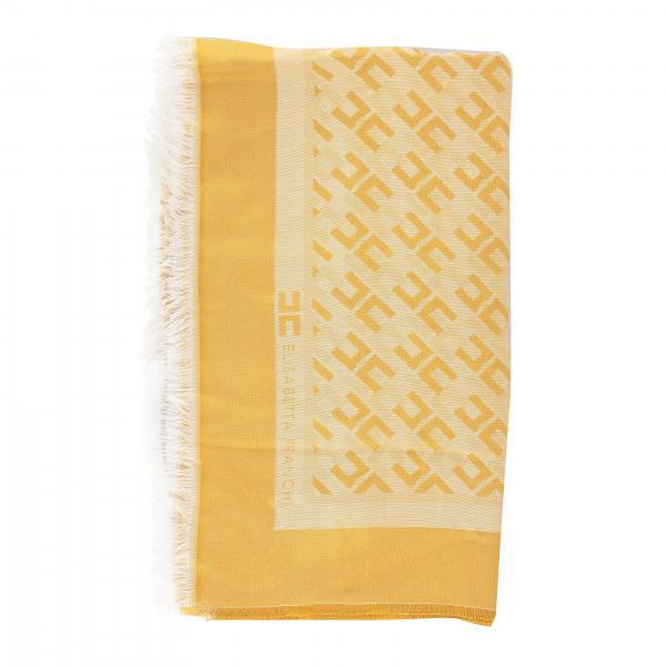 Elisabetta Franchi Large viscose and modal scarf with monogram