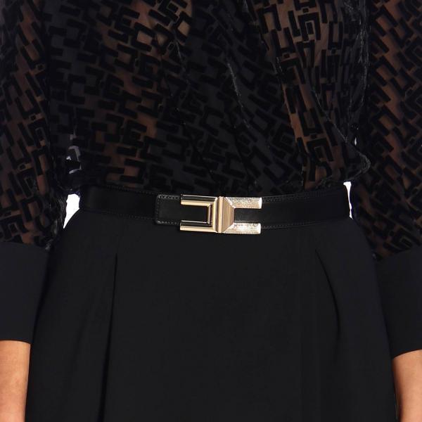 Elisabetta Franchi Synthetic leather belt with maxi logo