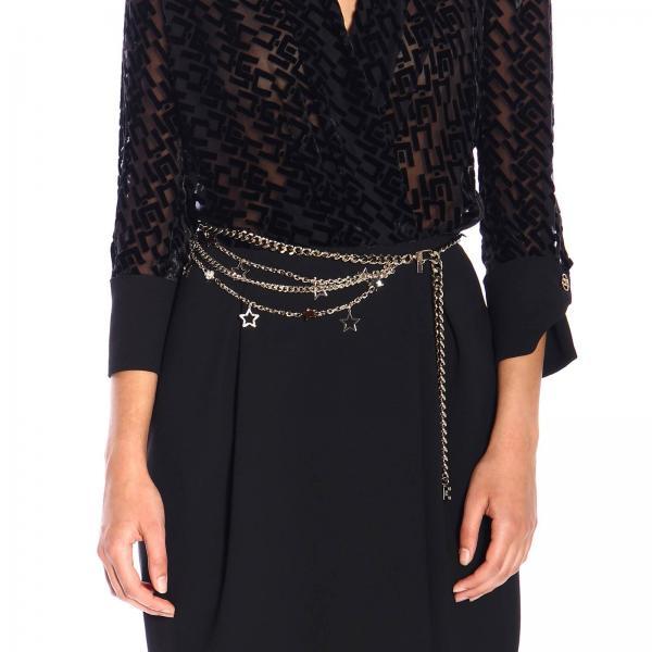 Cintura gioiello Elisabetta Franchi a macro catena con stelle e logo