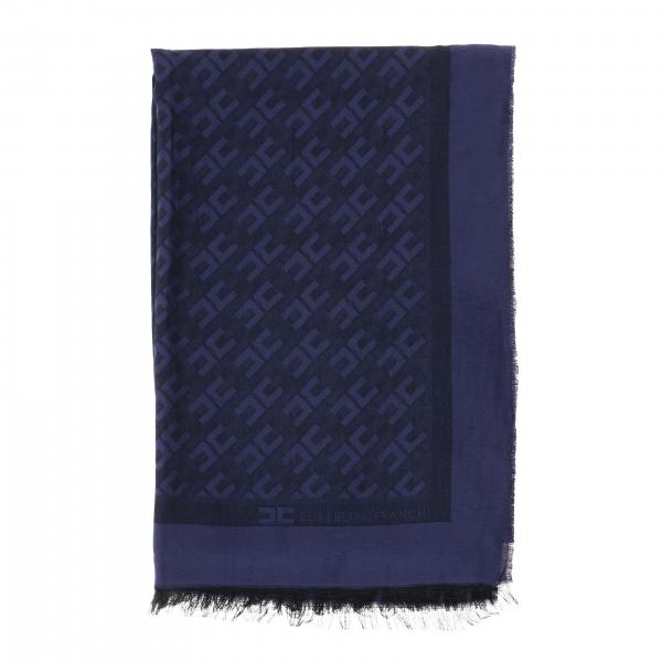 Large viscose and modal scarf with Elisabetta Franchi logo