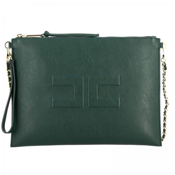 Large clutch Elisabetta Franchi in eco-leather with maxi logo