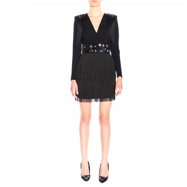 Платье Elisabetta Franchi с аппликациями из звезд и бахромы