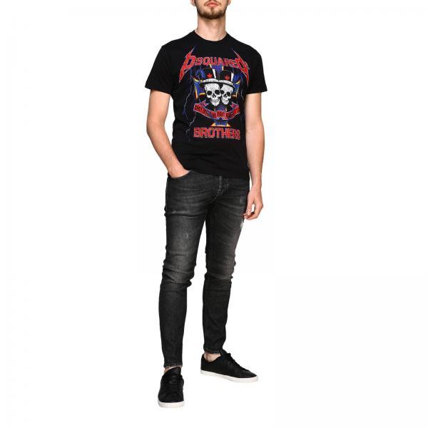 Stampa Con Corte Dsquared2 Jersey A Maniche shirt S71gd0802s22844 T Uomo NeroIn 4Aj3R5L