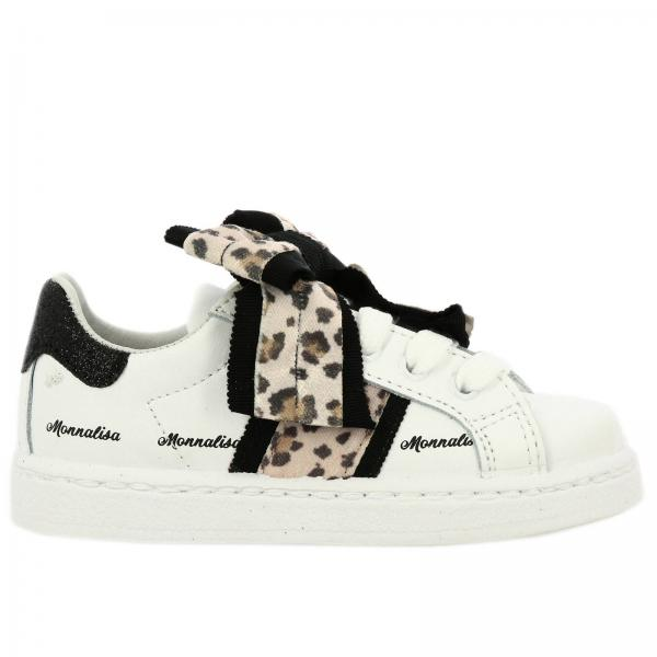 Monnalisa sneakers in leather with spotted bow