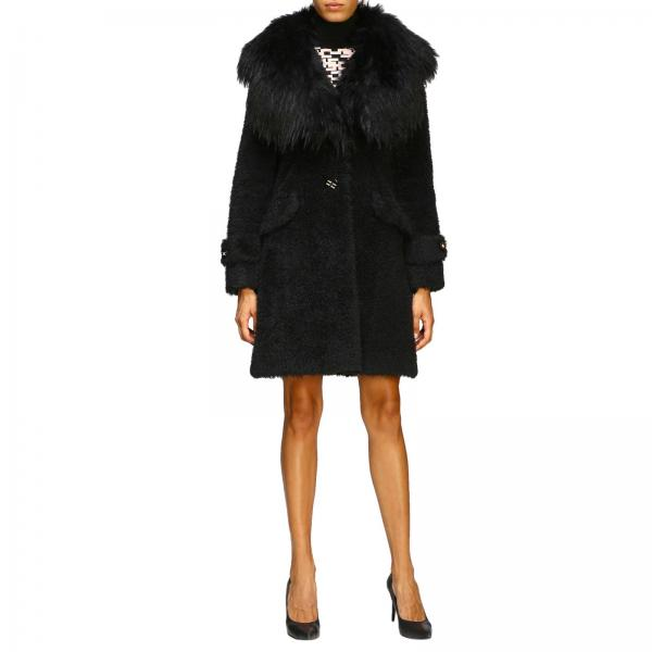Пальто Elisabetta Franchi с воротником из искусственного меха