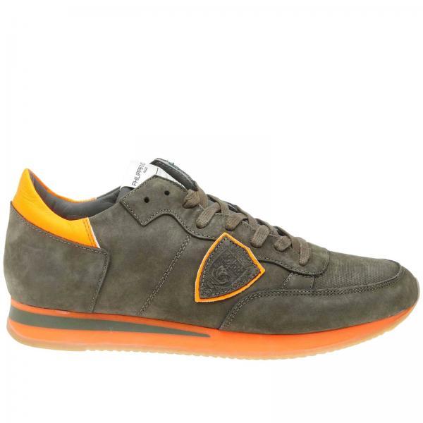 Philippe Model Tropez 绒面革对比色细节系带运动鞋