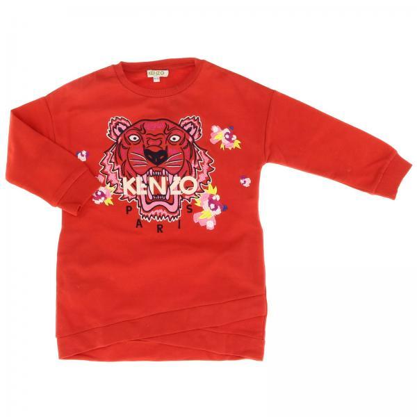 Abito a felpa Kenzo Junior a girocollo con maxi logo Tiger Kenzo Paris