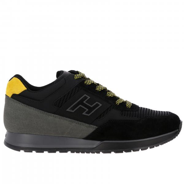 New Interactive Hogan leather suede and micro mesh sneakers with H flock