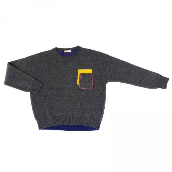 Marni two-tone pullover with patch pocket and contrasting details