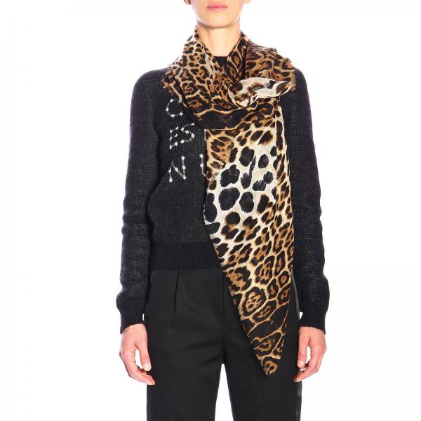 Scialle Saint Laurent a fantasia animalier