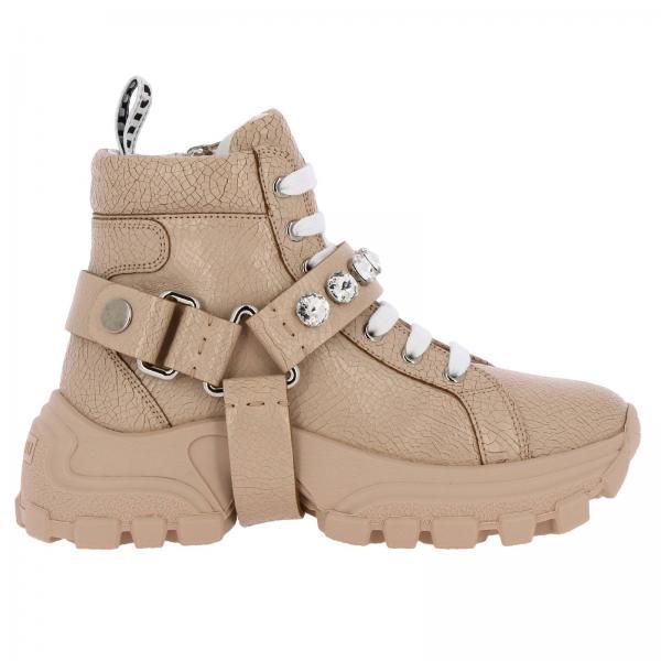 Sneakers Miu Miu running in pelle craquelé con fibbie di strass