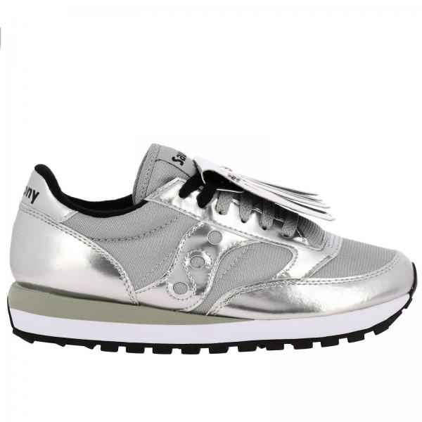 Sneakers Jazz Saucony in pelle laminata e tela con frange amovibili
