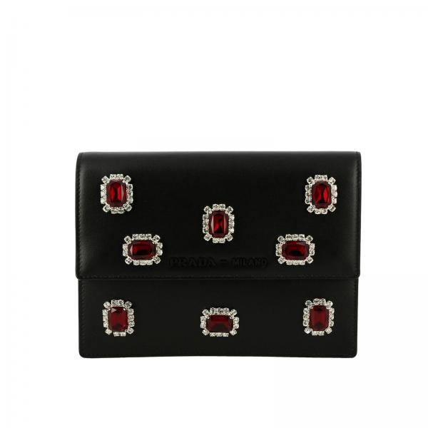 Borsa Prada con strass all over e logo