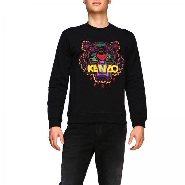Sweatshirt mit rundhalsausschnitt und maxi tiger kenzo paris logo