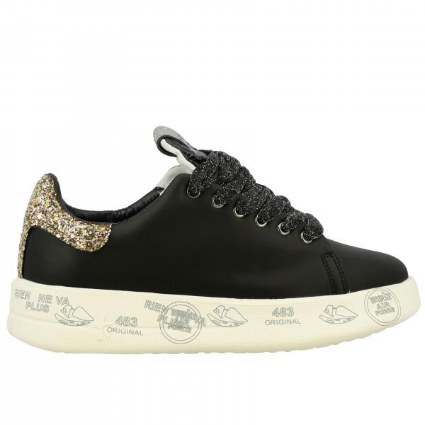 Sneakers Belle Premiata in pelle e glitter con maxi suola platform con multi stampe
