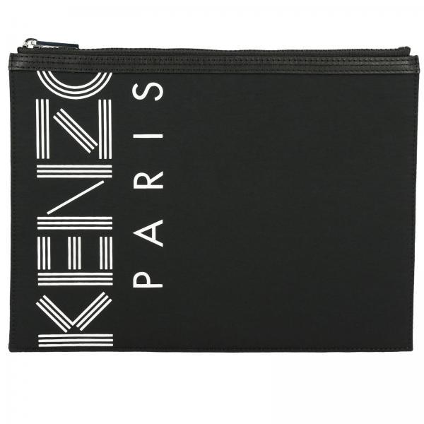 Pochette piatta in pelle con maxi logo Kenzo Paris