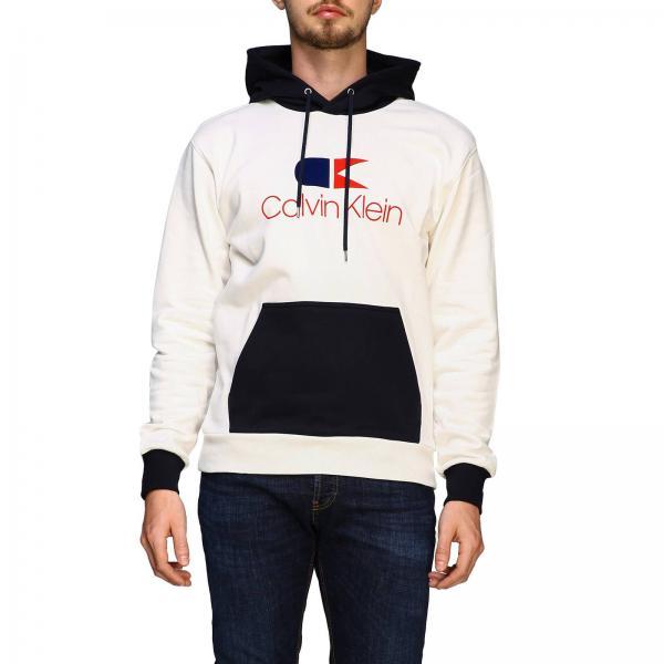 grande vendita d6c58 457a9 Felpa calvin klein con cappuccio e maxi logo