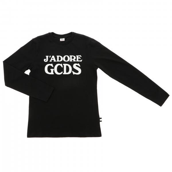 T-shirt a maniche lunghe con maxi logo GCDS