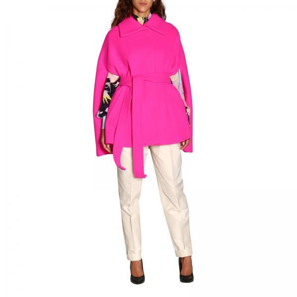 Пальто Emilio Pucci короткое на ремне с вырезанными рукавами в виде пончо