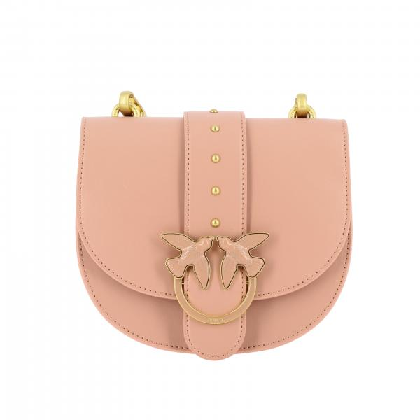 Pinko leather shoulder bag with Love Pinko buckle
