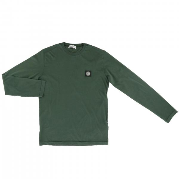 Stone Island basic t-shirt with long sleeves and mini logo