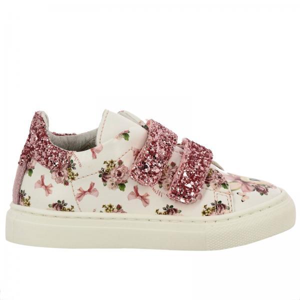 ben noto nuovi stili Regno Unito Sneakers monnalisa con stampe all over e fibbie a strappo glitter