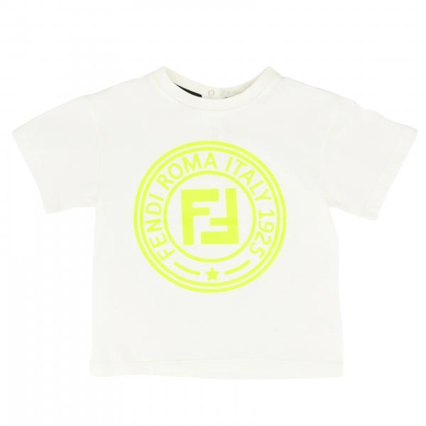 T-shirt à col rond à manches courtes et logo FF Fendi