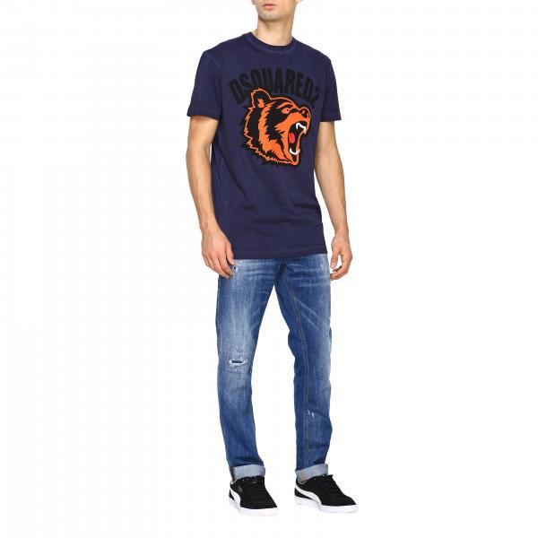 Maxi Dsquared2A Uomo Maniche T shirt Corte Con S74gd0584s21600 Stampa zMVGUpSq