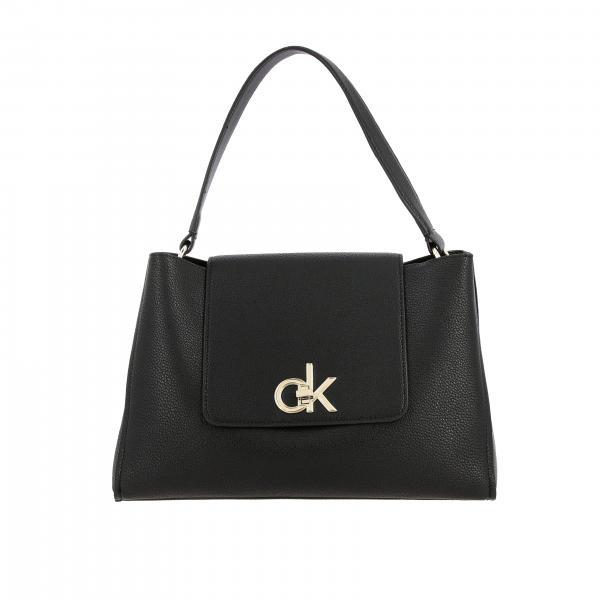 Borsa Calvin Klein in pelle ecologica martellata con monogramma CK a girello