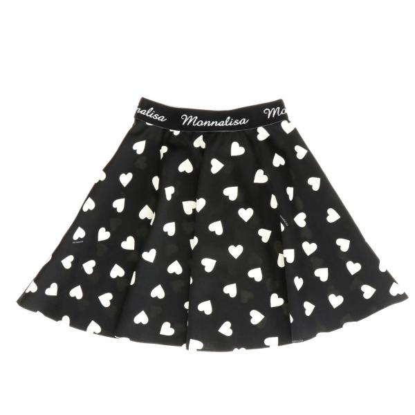Monnalisa wide skirt with a polka dot print in the shape of hearts